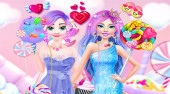 Barbie and Elsa in Candyland